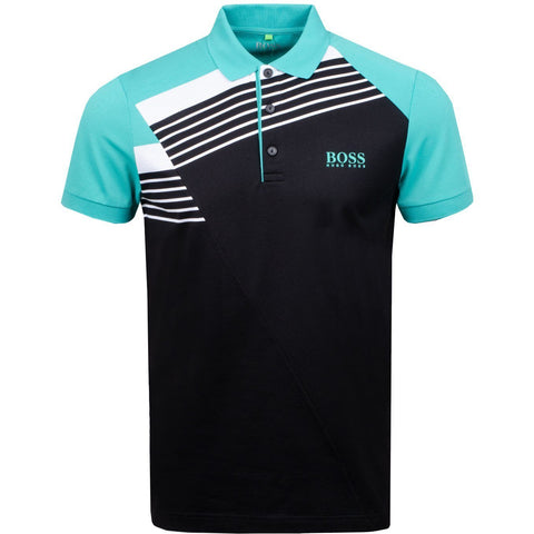 Athleisure Paddy Pro 1 Regular Fit Polo Shirt in Black Polo Shirts BOSS