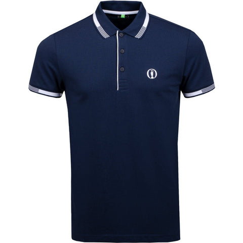 Paddy Pro British Open Regular Fit Polo Shirt in Navy Polo Shirts BOSS