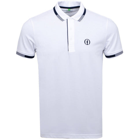 Paddy Pro British Open Regular Fit Polo Shirt in White Polo Shirts BOSS