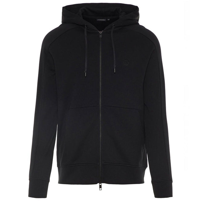 J. Lindeberg Throw Ring Loop Zip-Up Hoodie in Black