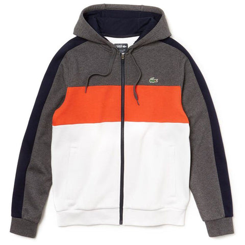 SH3528-A25 Colourblock Full Zip Hooded Sweatshirt in Grey Chine / Navy Blue / White Hoodies Lacoste Sport
