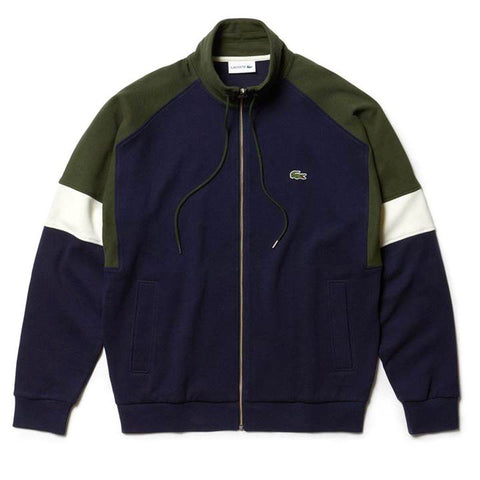 SH4364-9MH Colourblock Full Zip Sweatshirt in Navy / White / Khaki Green Jumpers Lacoste