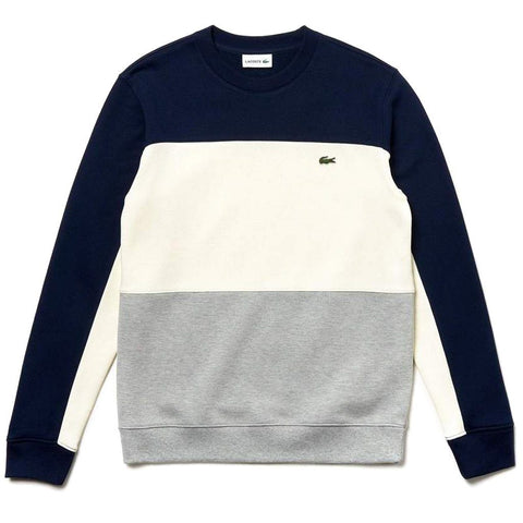 SH4371-89Q Crew Neck Colourblock Pique Fleece Sweatshirt in Navy / Cream / Grey sweatshirt Lacoste
