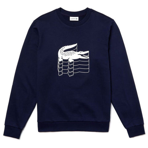 SH6423-166 Crew Neck Crocodile Print Sweatshirt in Navy Blue Lacoste