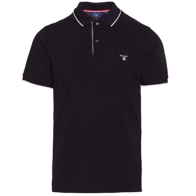 Gant TP Pique SS Rugger Polo Shirt in Black Polo Shirts Gant