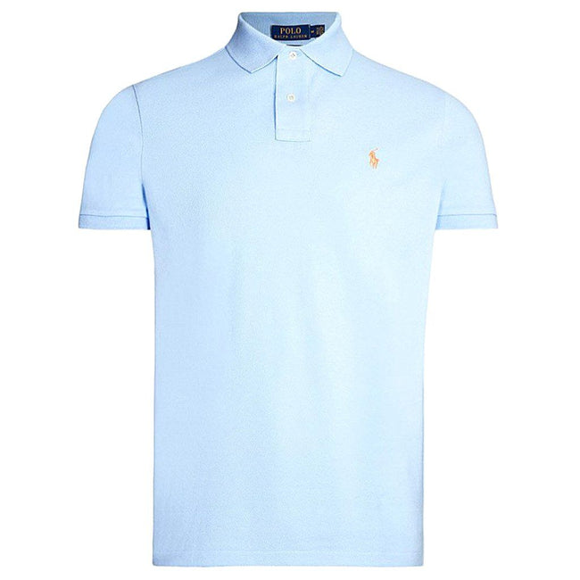 Ralph Lauren Custom Slim Fit Mesh Polo Shirt in Blue