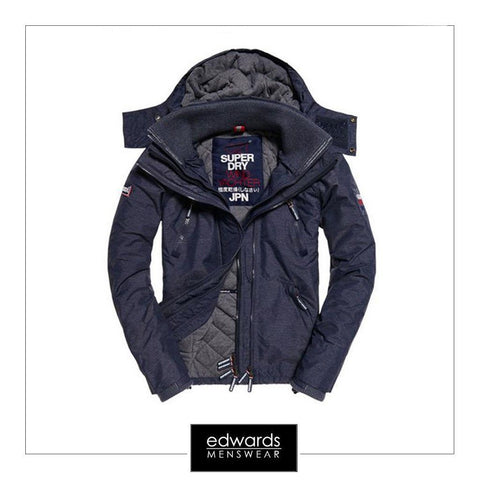 Superdry Hooded Wind Yachter in Ink Marl/Navy/White
