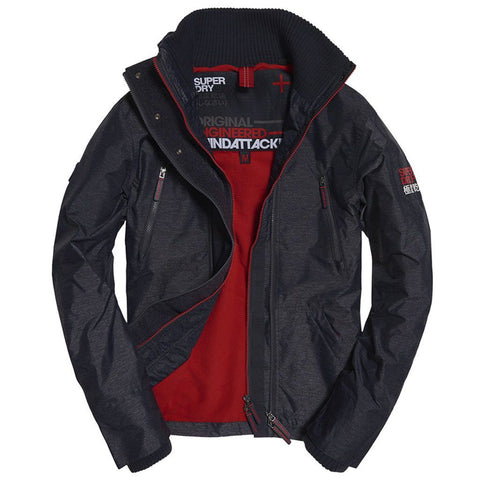 Superdry Polar Wind Attacker in Indigo Marl / Bright Red Coats & Jackets Superdry