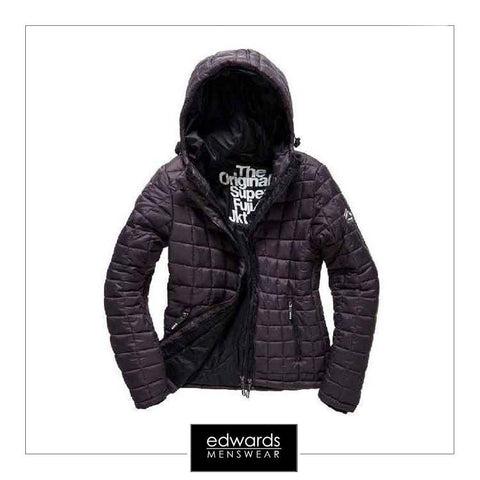 Superdry Box Quilt Fuji Jacket in Charcoal