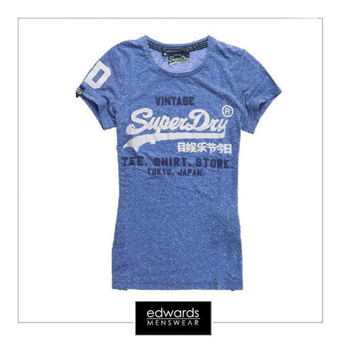 Superdry Shirt Shop Duo Tee in Retro Blue Snowy