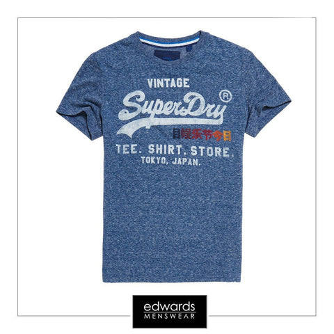 Superdry Shirt Shop Surf Tee in Chambray Blue Snowy
