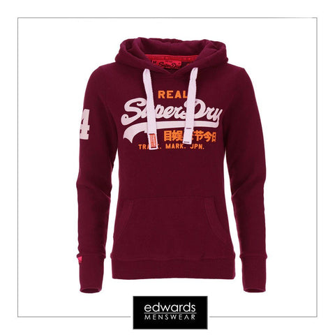 Ladies Superdry Vintage Logo Duo Entry Hoody in Fig