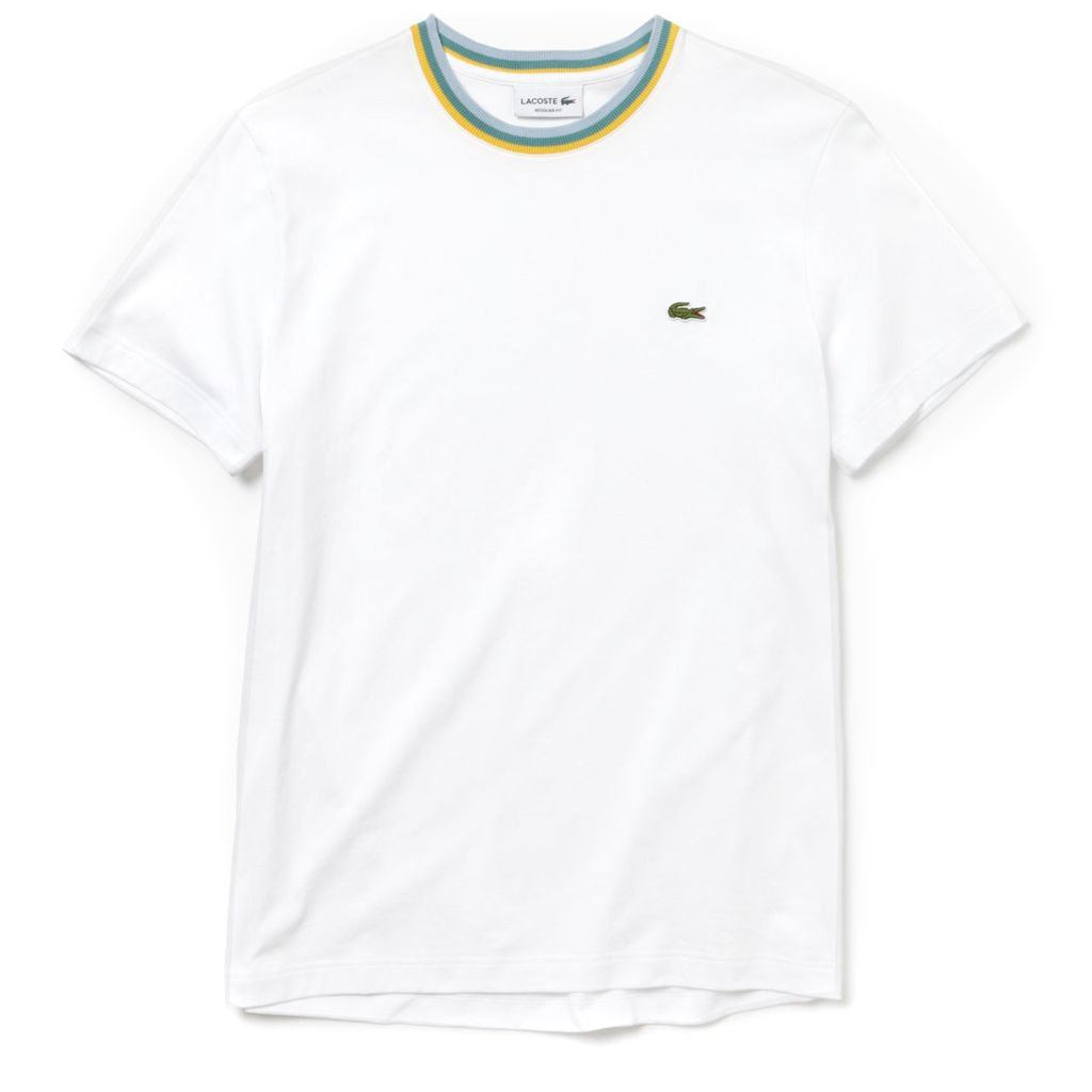 Lacoste TH4247-001 Striped Crew Neck Cotton Jersey T-shirt in White