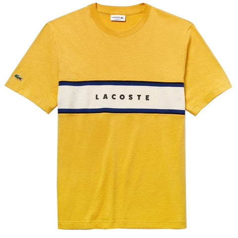 TH4295-G6N Crew Neck Panel Cotton T-Shirt in Yellow / Blue / White T-Shirts Lacoste
