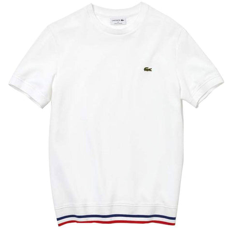 TH4318-9HW Made in France Pique T-Shirt in White / Red / Blue T-Shirts Lacoste