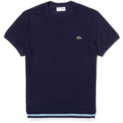 TH4318-9JG Made in France Pique T-Shirt in Navy / White / Sky T-Shirts Lacoste