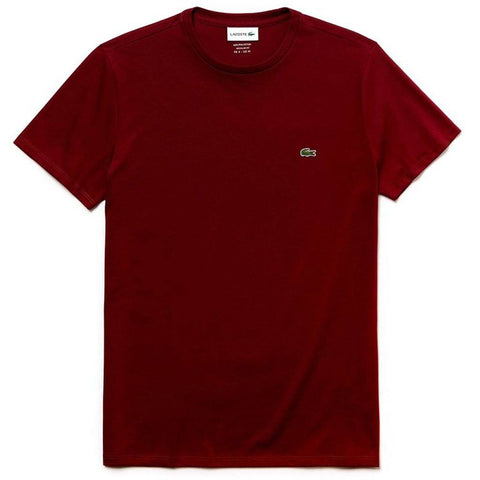 TH6709-Z7F Crew Neck Tee in Bordeaux Red T-Shirts Lacoste