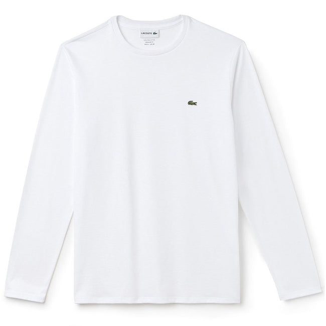 Lacoste TH6712-001 Crew Neck Pima Cotton Long Sleeved Tee in White