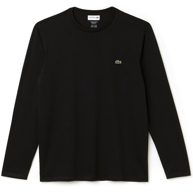 Lacoste TH6712-031 Crew Neck Pima Cotton Long Sleeved Tee in Black