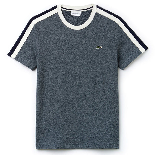 Lacoste TH9368-CYX Crew Neck Contrast Band T-Shirt in Aconit / Flour-Navy Blue