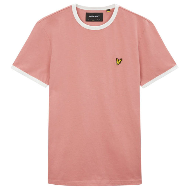 Lyle & Scott Ringer T-Shirt in Pink Shadow/Snow White