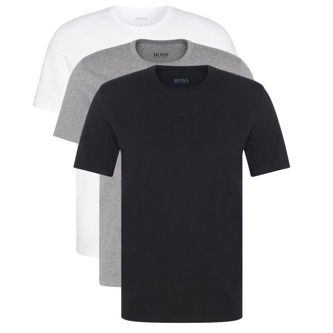 BOSS Bodywear T-Shirt RN  Regular Fit 3 Pack in Black / White / Grey
