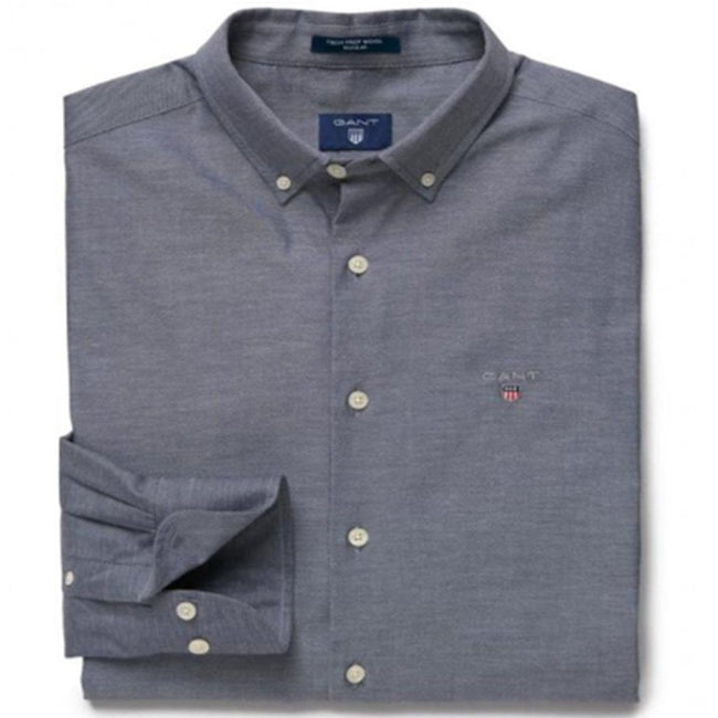 Gant Tech Prep Wool Solid Reg Shirt in Marine