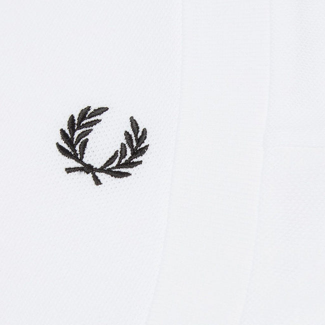 Fred Perry M4573 Tonal Panel Pique Polo Shirt in White