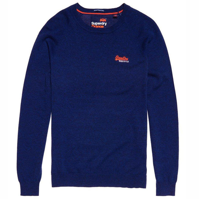 Superdry Orange Label Cotton Crew Neck Jumper in Utah Royal Blue