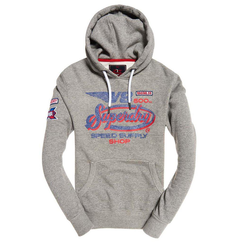 Superdry V8 Moto Hood in Phoenix Grey Grit