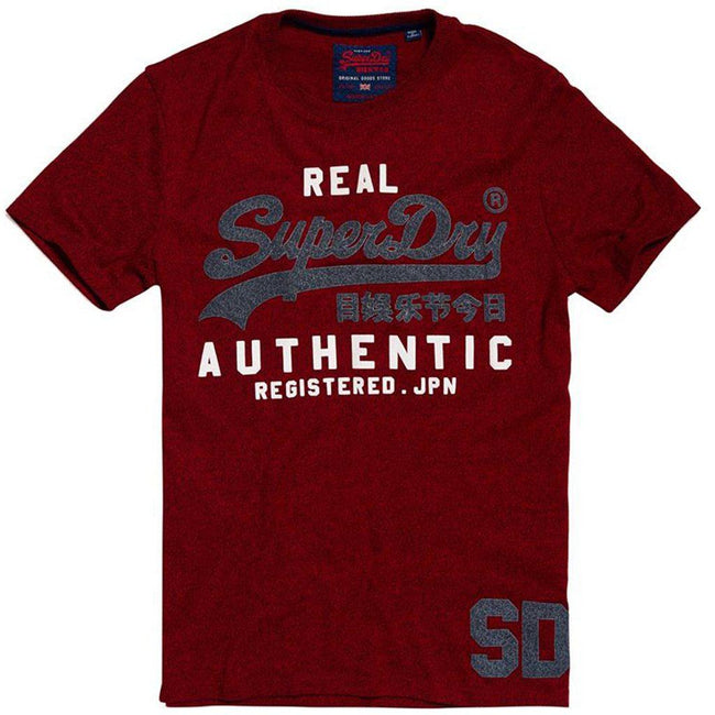 Superdry Vintage Authentic Duo Tee in Red Hook Grit