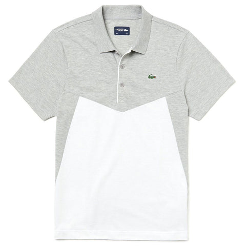 Lacoste Sport WH3457-MTG Colourblock Ultra Light Cotton Polo Shirt in Grey / White Polo Shirts Lacoste
