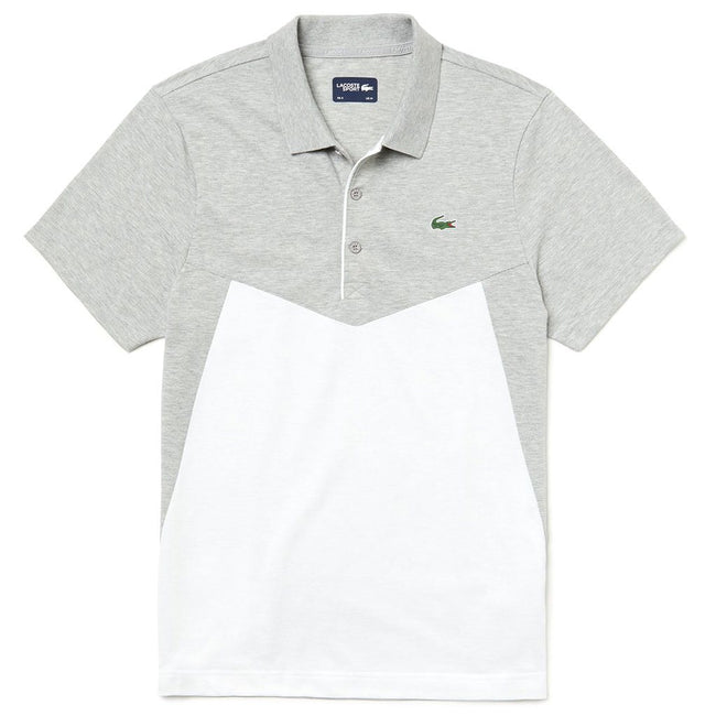 Lacoste Sport WH3457-MTG Colourblock Ultra Light Cotton Polo Shirt in Grey / White