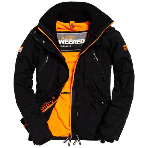 Superdry Polar Wind Attacker in Black / Fluro Orange Coats & Jackets Superdry
