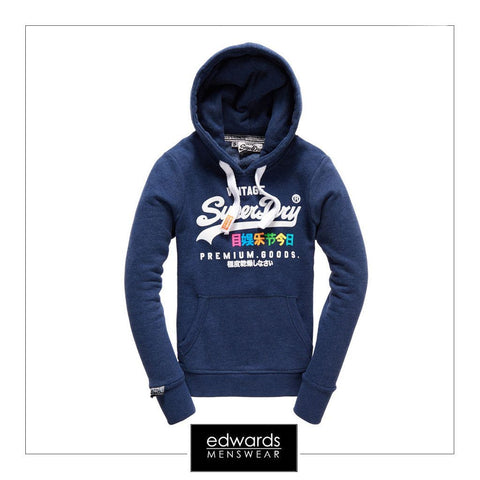 Superdry Orange Label Premium Goods Hoodie in French Navy Rugged