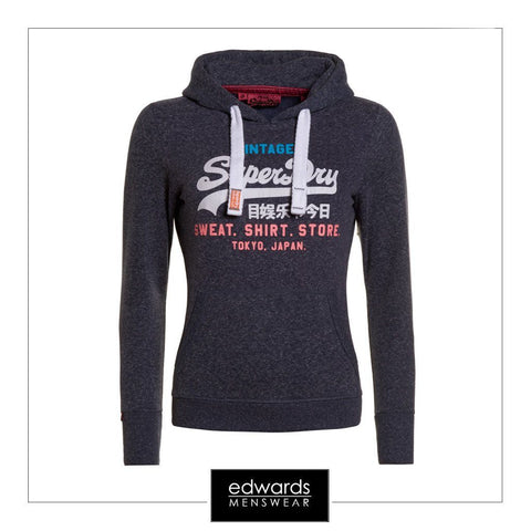 Superdry Shirt Store Hoody in Imperial Navy Snowy