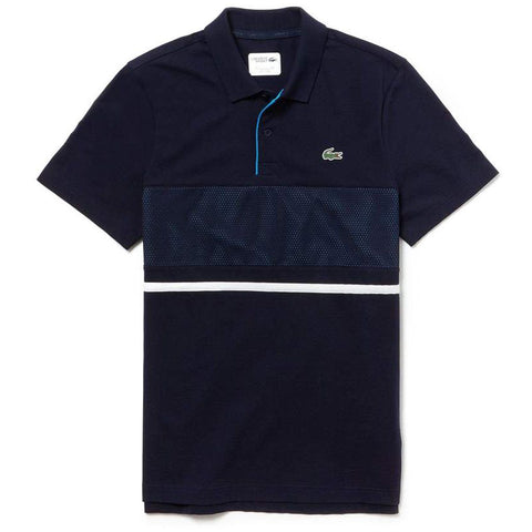 YH3452-9X4 Mesh Panel Ultra Light Cotton Polo Shirt in Navy Blue / Blue / White Polo Shirts Lacoste Sport