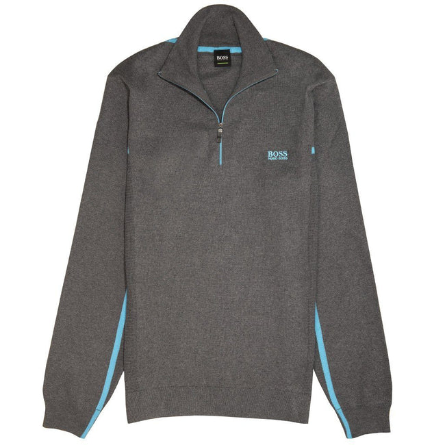 BOSS Athleisure Zanja 1/4 Zip in Grey Jumpers BOSS