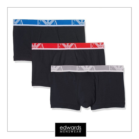 Emporio Armani 3-Pack Trunks in Marine