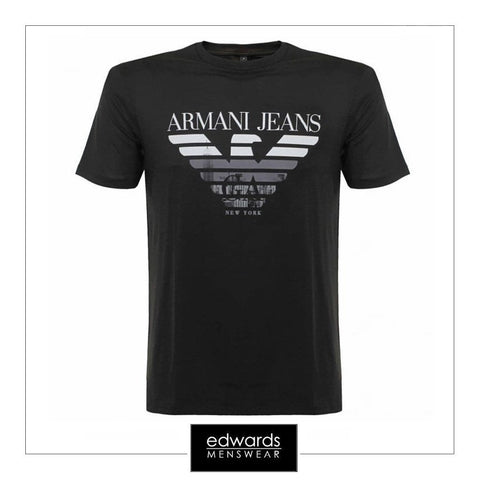 Armani Jeans T-Shirt with Logo on Front in Black