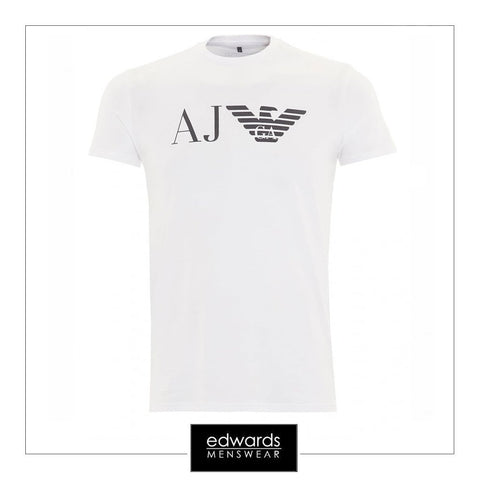 Armani Jeans Crew Neck Eagle Logo T-Shirt in White