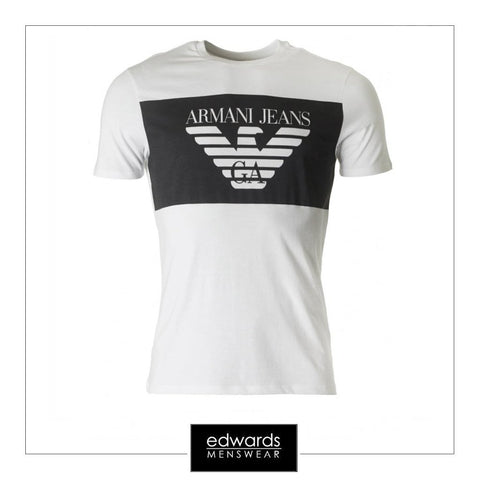 Armani Jeans Large Blocked Print T-Shirt in White