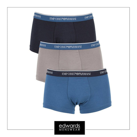 Emporio Armani 3-Pack Trunks in Black/Grey/Blue