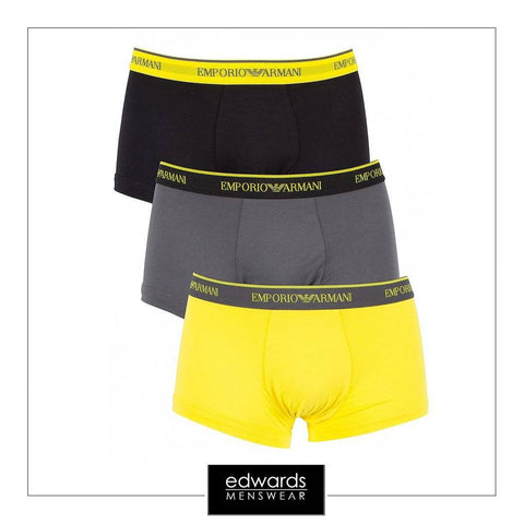 Emporio Armani 3-Pack Trunks in Black/Grey/Yellow