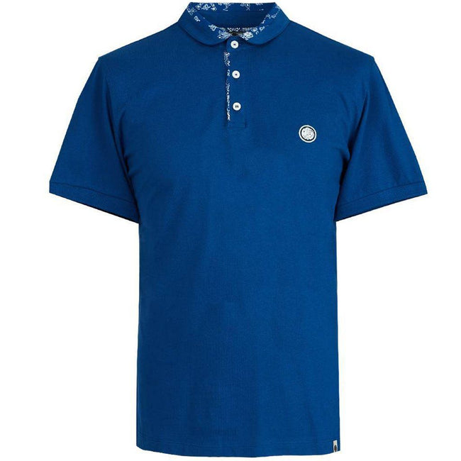Pretty Green Bandana Print Collar Polo Shirt in Navy