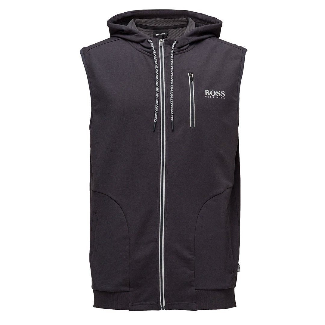 BOSS Bodywear Hooded Beach Vest in Dark Grey