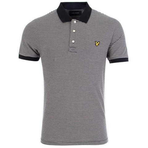 Lyle & Scott Feeder Stripe Polo Shirt in Black Polo Shirts Lyle & Scott