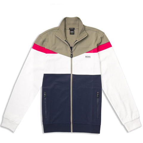 BOSS Athleisure Skarley Zip Sweatshirt in Navy / White / Khaki Coats & Jackets BOSS