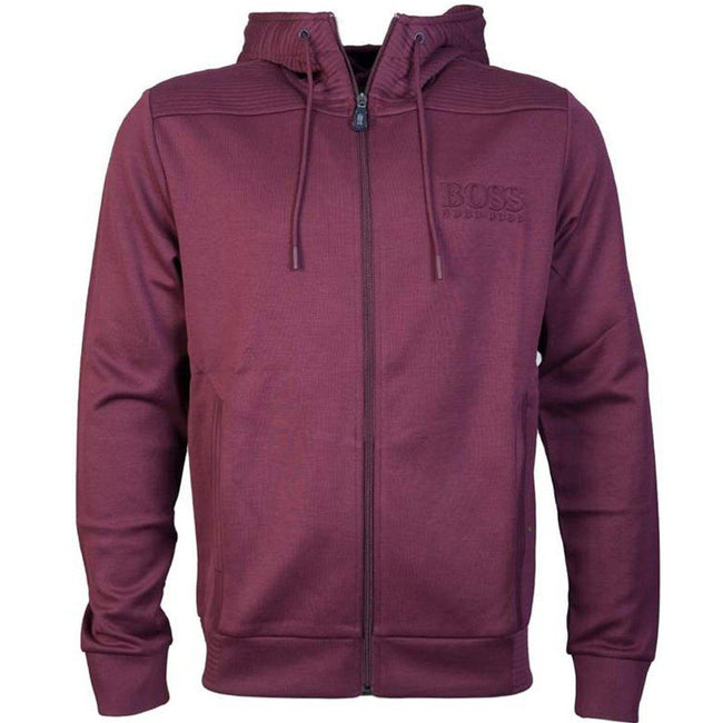 BOSS Athleisure Saggy Ziphood Sweatshirt in Burgundy Hoodies BOSS