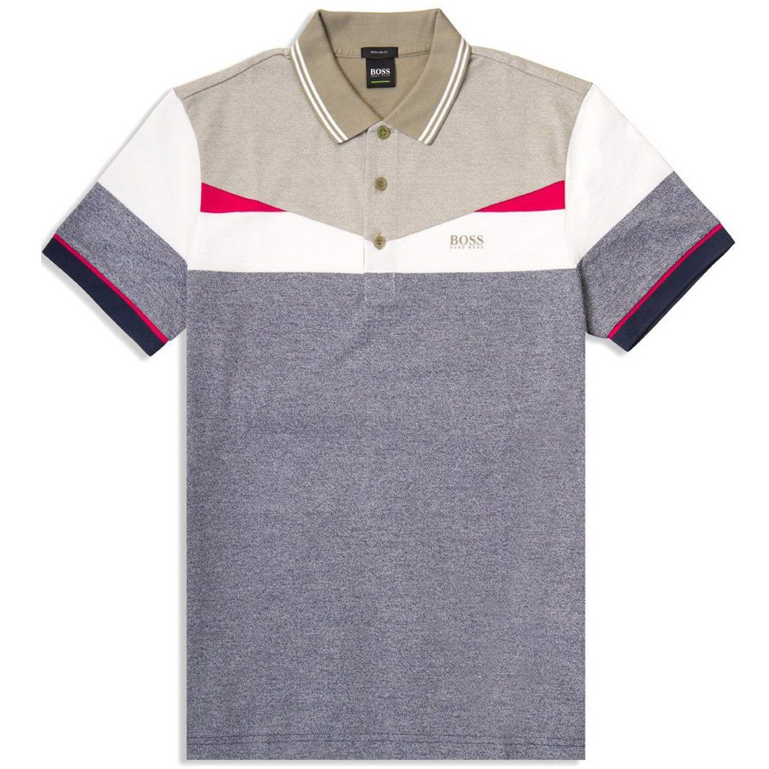BOSS Athleisure Paddy 6 Polo Shirt in Navy / White / Khaki